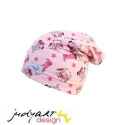 Judyartdesign téli bélelt csövi fazonú sapka - pink kutyusos