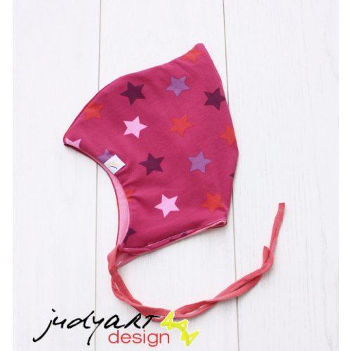 Tavaszi/őszi baba sapka - pink csillagos