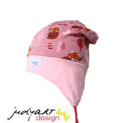 Tavaszi/őszi füles gyerek sapka - vöröspanda L