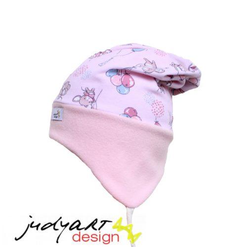 Judyartdesign téli bélelt füles fazonú sapka - lufis rózsaszín