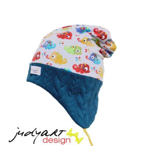 Judyartdesign téli bélelt füles fazonú sapka - színes kaméleon