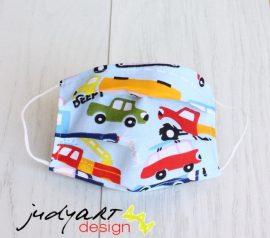 Judyartdesign GYEREK textil szájmaszk - kék autós