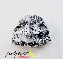 Judyartdesign FELNŐTT textil szájmaszk - képregény