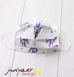 Judyartdesign GYEREK textil szájmaszk - fehér levendulás