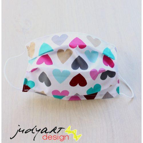 Judyartdesign GYEREK textil szájmaszk - szíves
