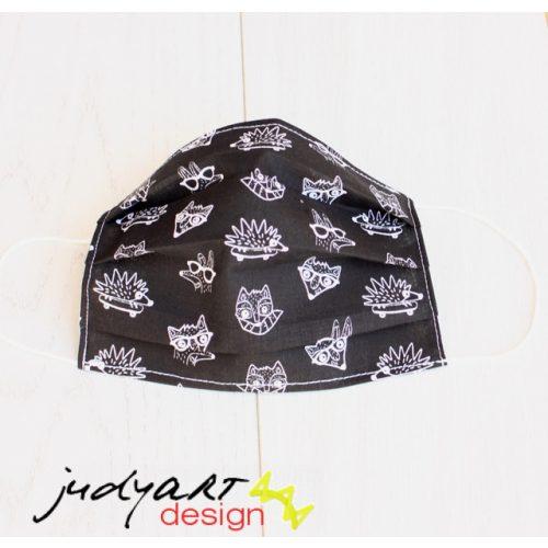 Judyartdesign GYEREK textil szájmaszk - deszkás süni