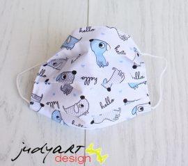 Judyartdesign FELNŐTT textil szájmaszk - kék kutyás