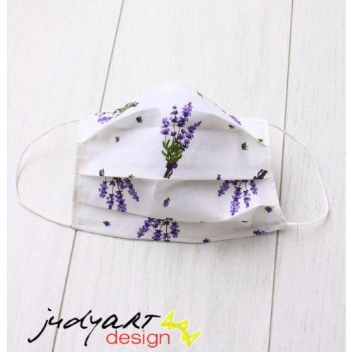 Judyartdesign FELNŐTT textil szájmaszk - fehér levendula