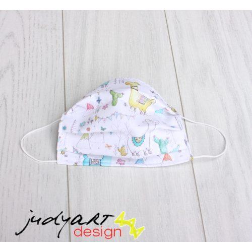 Judyartdesign FELNŐTT kétrétegű textil szájmaszk - láma