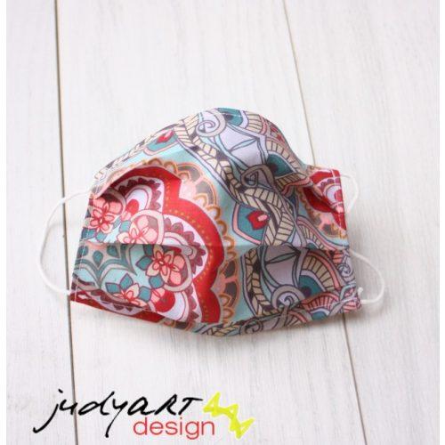 Judyartdesign GYEREK textil szájmaszk - piros mandala