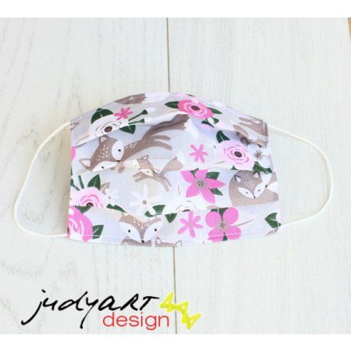 Judyartdesign FELNŐTT textil szájmaszk - rózsaszín rókás